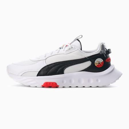 Zapatos deportivos Wild Rider Art of Sport para hombre, Puma White-Puma Black-High Risk Red, pequeño