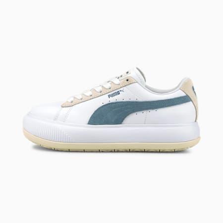 Suede Mayu Mix Women's Trainers, Puma White-Ivory Glow-China Blue, small
