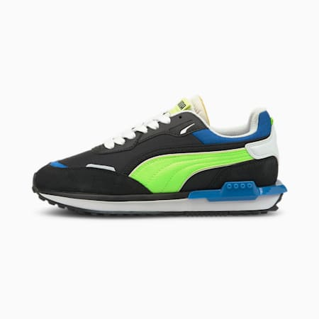 City Rider Electric Youth Trainers, Puma Black-Green Glare, small-GBR