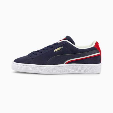 Zapatos deportivos Triplex de gamuza para joven, Peacoat-High Risk Red-Puma White, pequeño