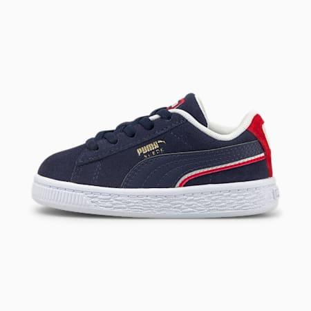 Zapatos Triplex de gamuza para bebé, Peacoat-High Risk Red-Puma White, pequeño