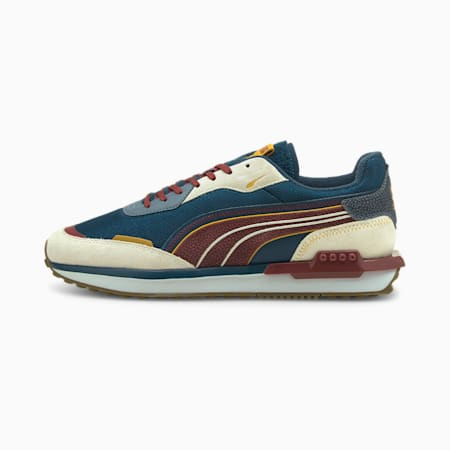 City Rider P.Uni Unisex Sneakers, Ivory Glow-China Blue-Intense Red, small-IND