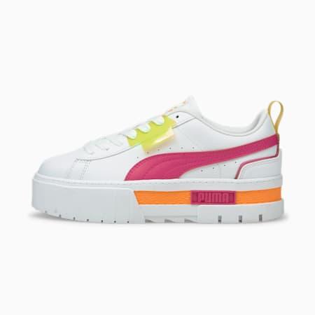 Zapatos deportivos Mayze City Lights para mujer, Puma White-Beetroot Purple, pequeño