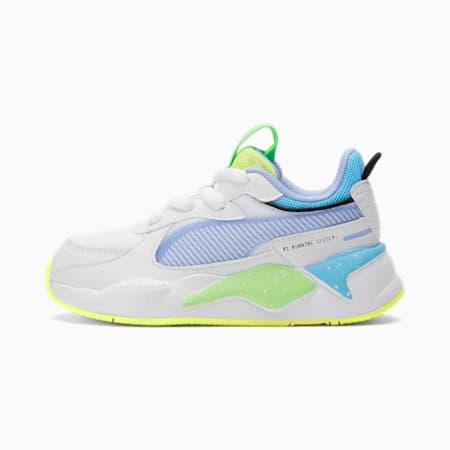 Zapatos RS-X Airbrushpara niños, Pm Wt-Lms Bl-Fzy Ylw-Elk Grn, pequeño