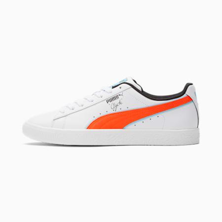 Zapatos deportivosClyde Airbrush para hombre, Puma White-Rd Blt-Lmns Bl, pequeño