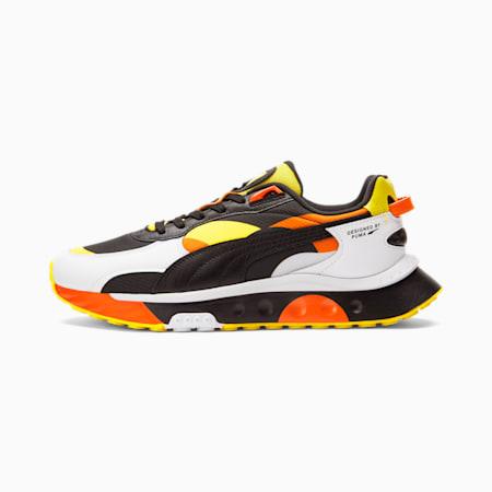 Zapatos deportivos Wild Rider Court Crush, Puma White-Carrot-Vibrant Yellow, pequeño