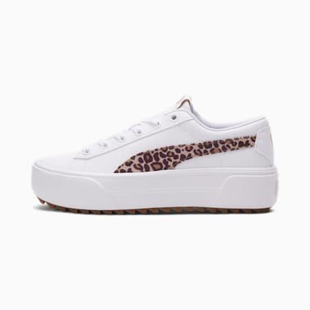 Zapatos deportivos Kaia Platform Leo para mujer, Puma White-Croissant-Fudge, pequeño