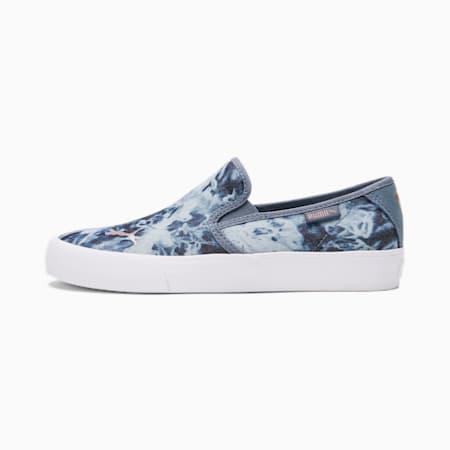 Zapatos deportivos sin cordones Bari Textile Indigo para mujer, China Blue-Rose Gold, pequeño
