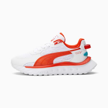 Zapatos deportivos PUMA x Kool-Aid Wild Rider JR, Puma White-Grenadine, pequeño