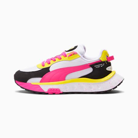 Zapatos deportivos Wild Rider Rollin' JR, Puma White-Pink Glo-Blazing Yellow, pequeño