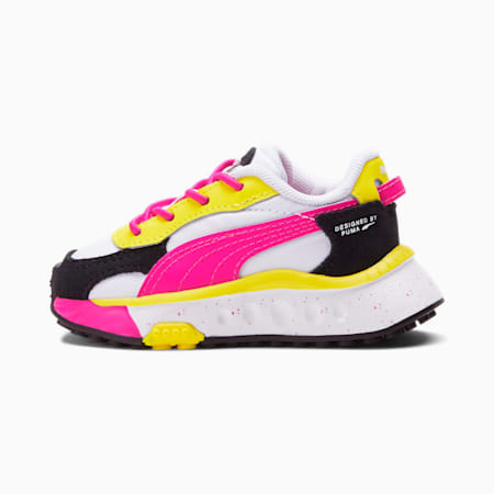 Zapatos Wild Rider Rollin' para bebé, Puma White-Pink Glo-Blazing Yellow, pequeño
