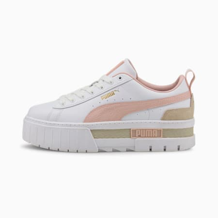 Mayze Tumbled Women's Sneakers, Puma White-Lotus-Puma Team Gold, small-IND