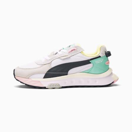 Zapatos deportivos Wild Rider Layers para mujer, Puma White-Ebony, pequeño