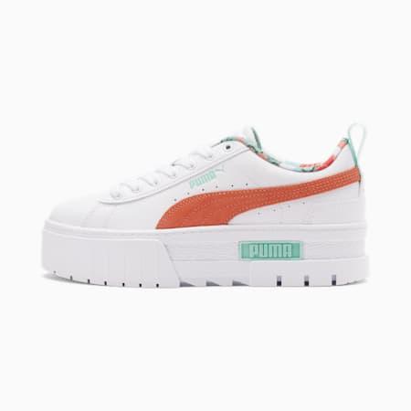 Zapatos deportivos Mayze Flower Aura 2 JR, Puma White-Desert Flower-Eggshell Blue, pequeño