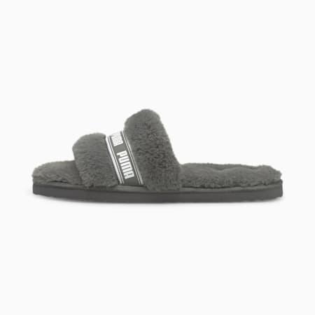 Sandalias Fluff para mujer, Charcoal Gray-Puma White, pequeño