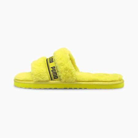 Fluff pantoffel voor dames, Fluo Yellow-Puma Black, small