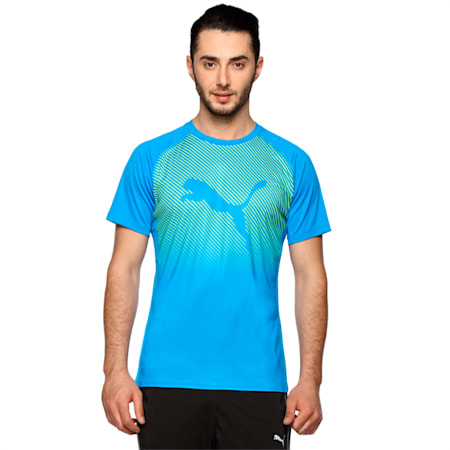 Running Logo T-Shirt, Electric Blue Lemonade, small-IND