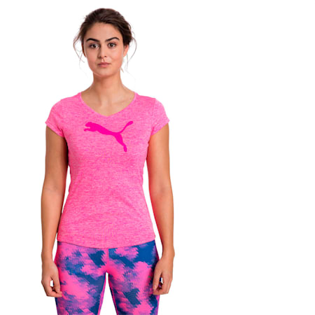Active Training Women's Heather Cat T-Shirt, KNOCKOUT PINK Heather, small-IND