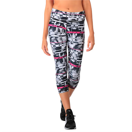 Active Training Women's All Eyes On Me 3/4 Tights, puma black-wht feather prt, small-IND