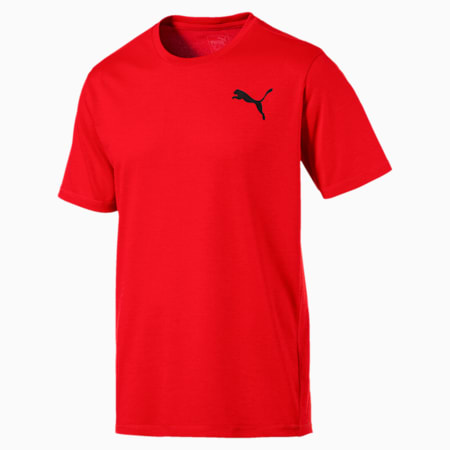 Training Men's Essential Puretech Heather T-Shirt, Flame Scarlet Heather, small-SEA