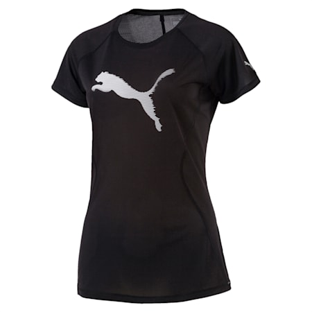 Running Women's Core-Run Logo T-Shirt, Puma Black, small-IND
