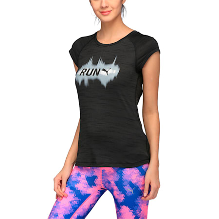 Running Women's T-Shirt, Puma Black Heather, small-IND