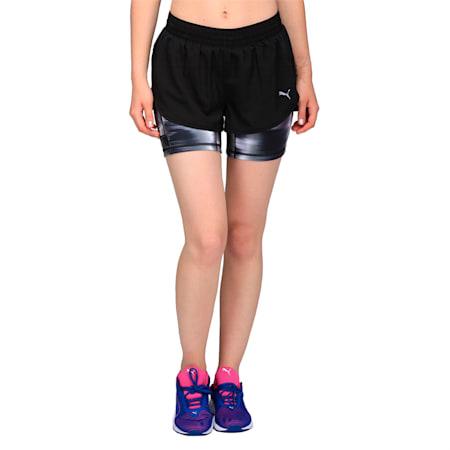 Running Women's Blast 2 in 1 Shorts, Puma Black-Puma Black AOP, small-IND