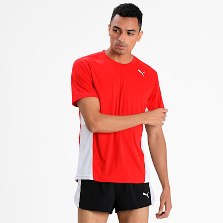 Cross the Line Short Sleeve dryCELL Men's Top, Puma Red-Puma White, small-IND