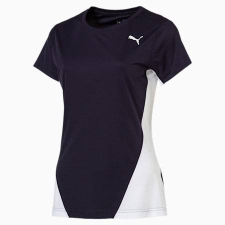 Cross the Line Short Sleeve Women's Training Tee, Puma New Navy-Puma White, small-SEA