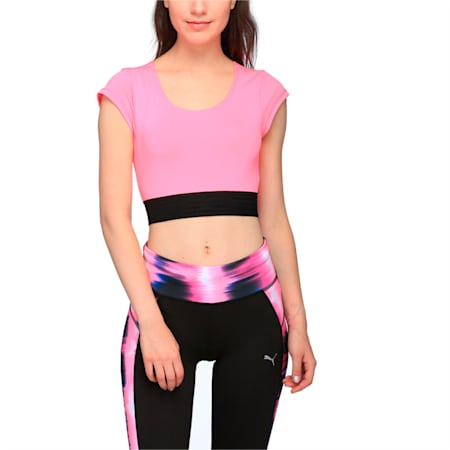 Active Training Women's Explosive Crop Top, KNOCKOUT PINK, small-IND