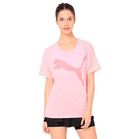 Active Training Women's Loose T-Shirt, Soft Fluo Peach, small-IND