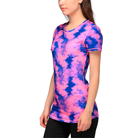 Training Women's Essential Graphic T-Shirt, Pink blue explosive print, small-IND