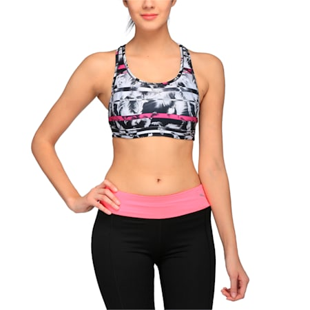 Training Women's PWRSHAPE Forever Graphic Padded Crop Top, black-magenta-feather prt, small-IND