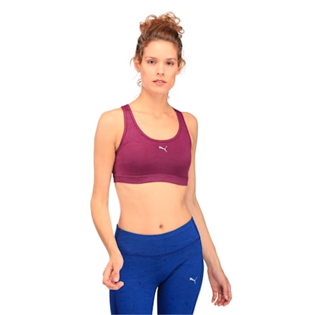 Training Women's PWRSHAPE Forever Graphic Padded Crop Top, Dark Purple oxidized prt, small-IND