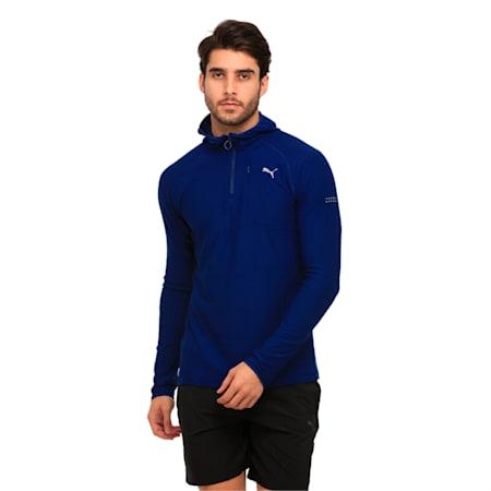 Running Men's Run Hooded Long Sleeve, Blue Depths Heather, small-IND