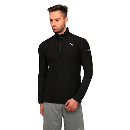 Running Men's Half Zip Long Sleeve, Puma Black, small-IND