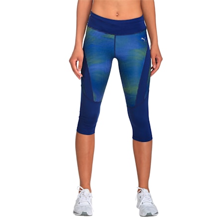 Running Women's Graphic 3/4 Tights, Blue Depths-Dot AOP, small-IND