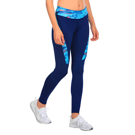 Running Women's Graphic Tights, Blue Depths-Nrgy Turq AOP, small-IND