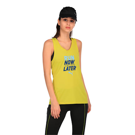 Running Women's PWRCOOL Slogan Tank Top, Nrgy Yellow, small-IND