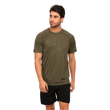 Active Training Men's Vent Cat T-Shirt, Olive Night, small-IND