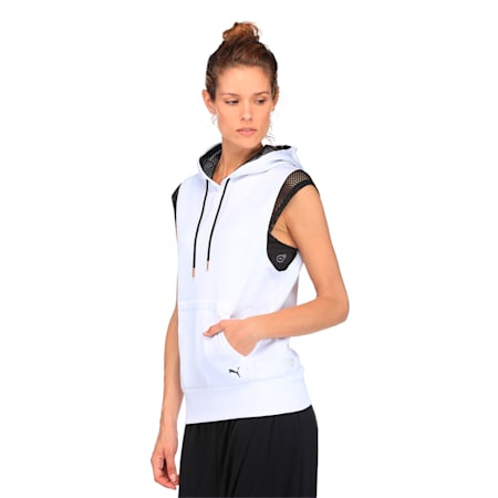 Active Training Women's Explosive Sleeveless Hoodie, Puma White, small-IND