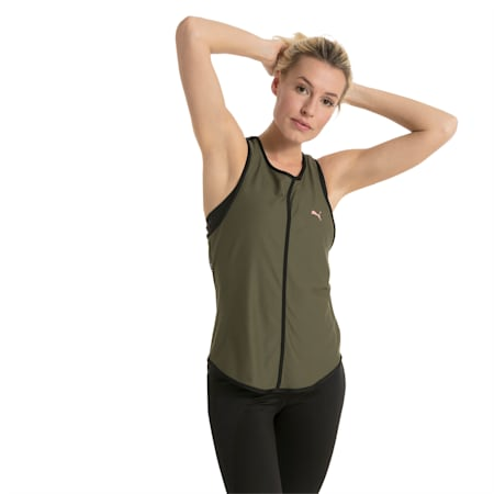Active Training Women's Explosive Mesh Tank Top, Olive Night, small-IND