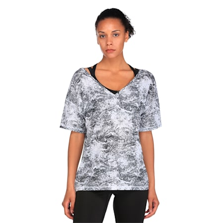 Active Training Women's Dancer Drapey T-Shirt, -white black nature prt, small-IND