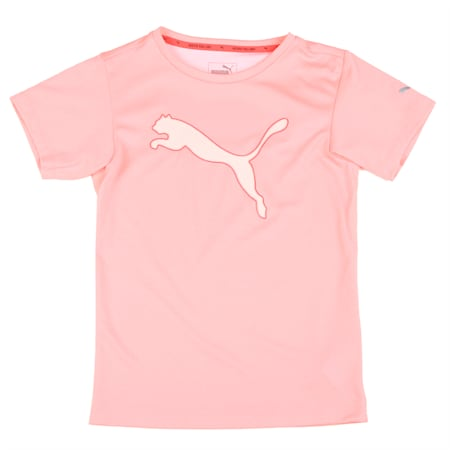Girls' Training T-Shirt, Soft Fluo Peach Heather, small-IND