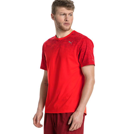 Graphic Short Sleeve Men's Running T-Shirt, Flame Scarlet, small-SEA