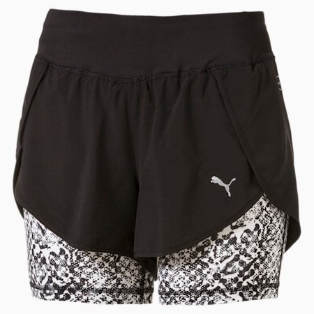 Blast 2-in-1 Women's Shorts, Black-White Euphoria, small-IND