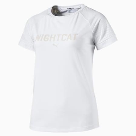 NightCat Women's Short Sleeve T-Shirt, Puma White, small-IND