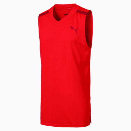 Men's Tech Sleeveless Training Top, Flame Scarlet Heather, small-IND