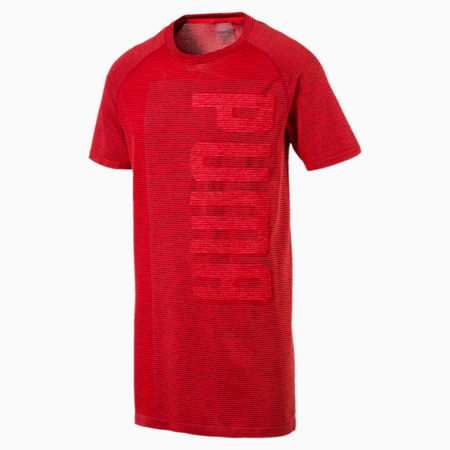evoKNIT Men's T-Shirt, Flame Scarlet Heather, small-IND