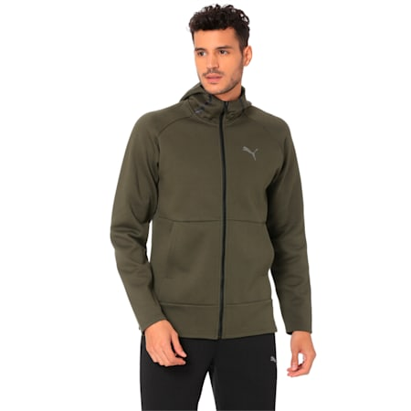 BND Tech Protect Zip-Up Hooded Men's Jacket, Forest Night, small-IND